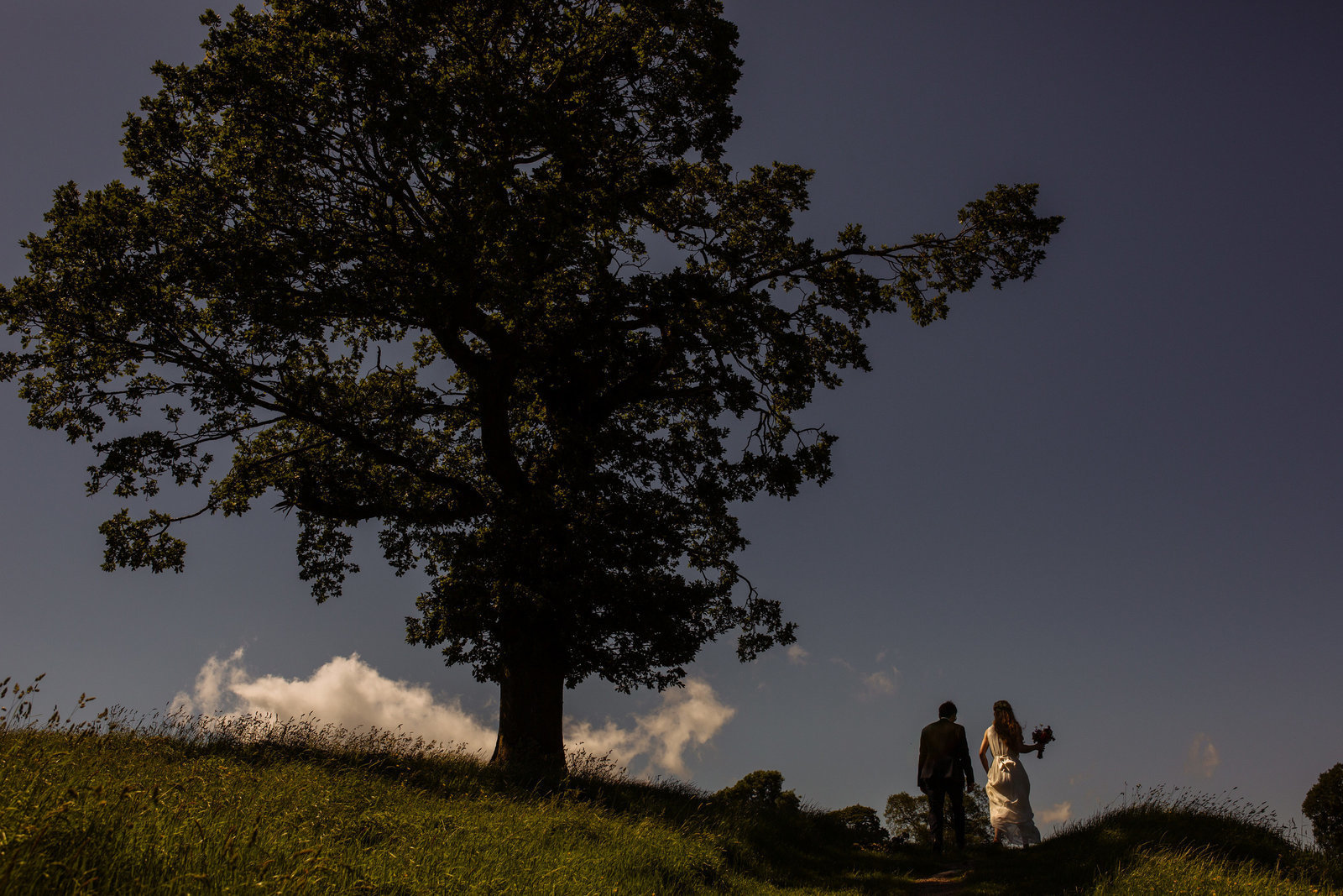 Bride and groom in the lake district. Modern wedding photography