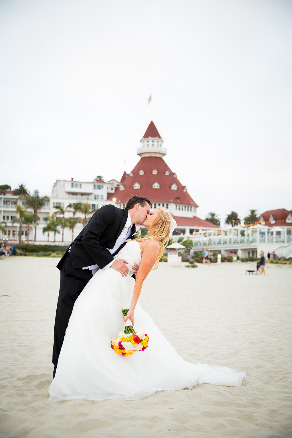 Dip Kiss on the beach in front of the Hotel Del Coronado