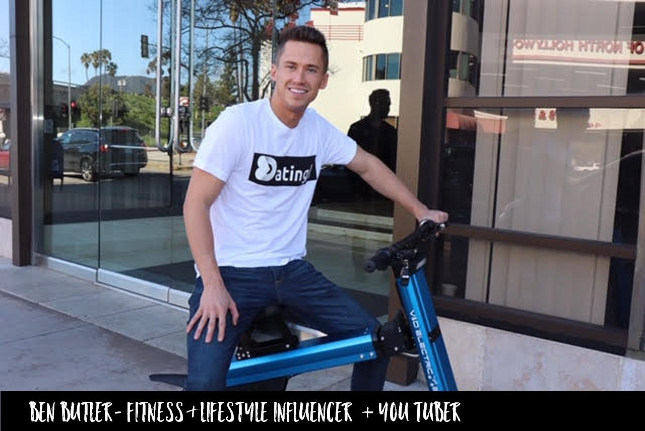 Ben Butler Youtuber Lifestyle Influencer and Fitness Guru riding Blue Go-Bike M2 on the streets of LA