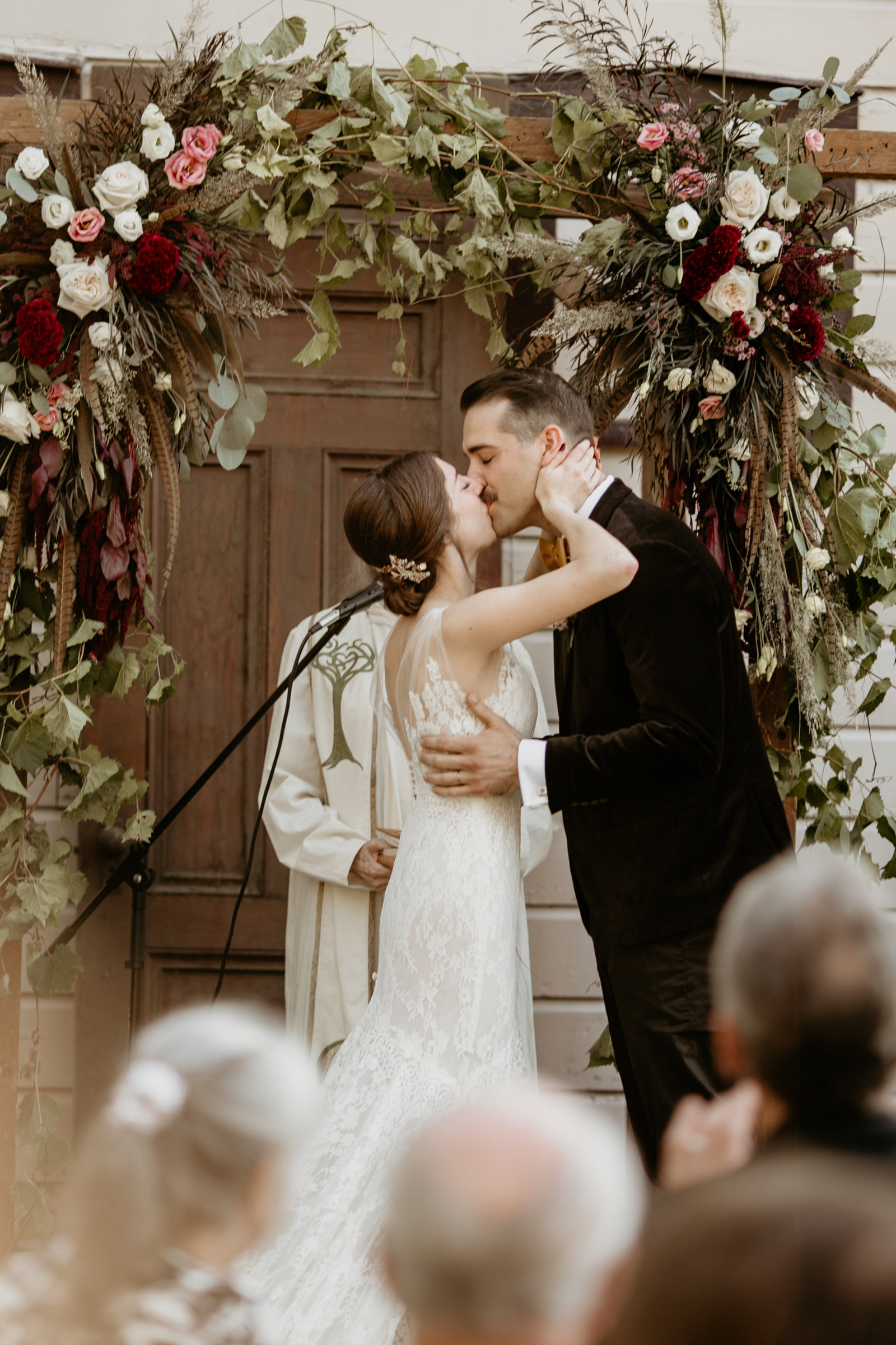 Bride and groom's first kiss as husband and wife.