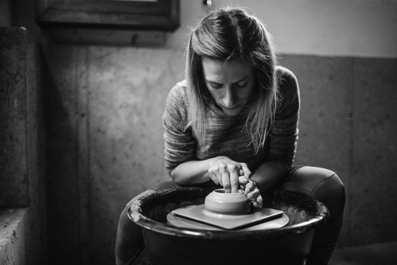 black and white portrait of a potter