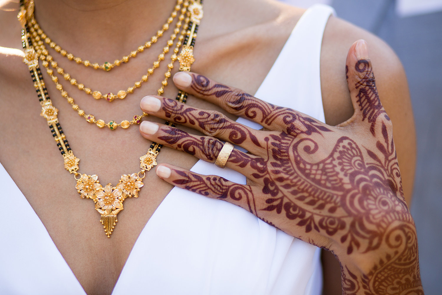 Detail on Henna and Jewelry at an Indian Hindu Wedding Ceremony