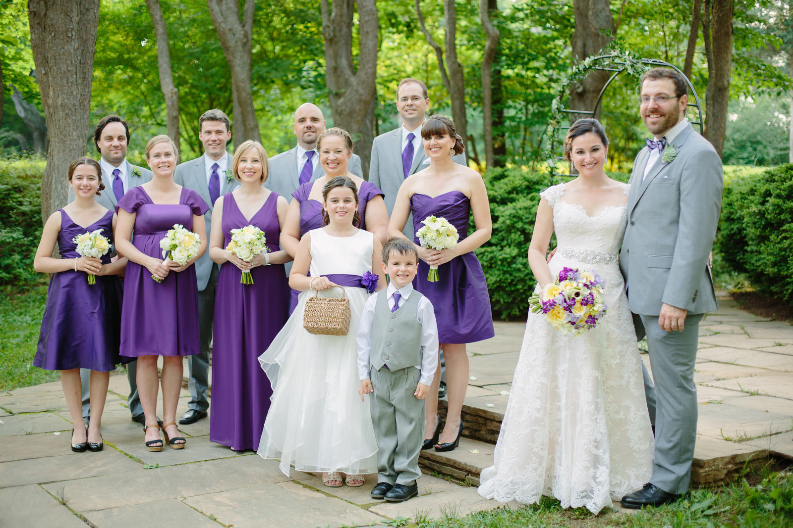 Woodend Sanctuary Wedding Bridal Party with purple and grey