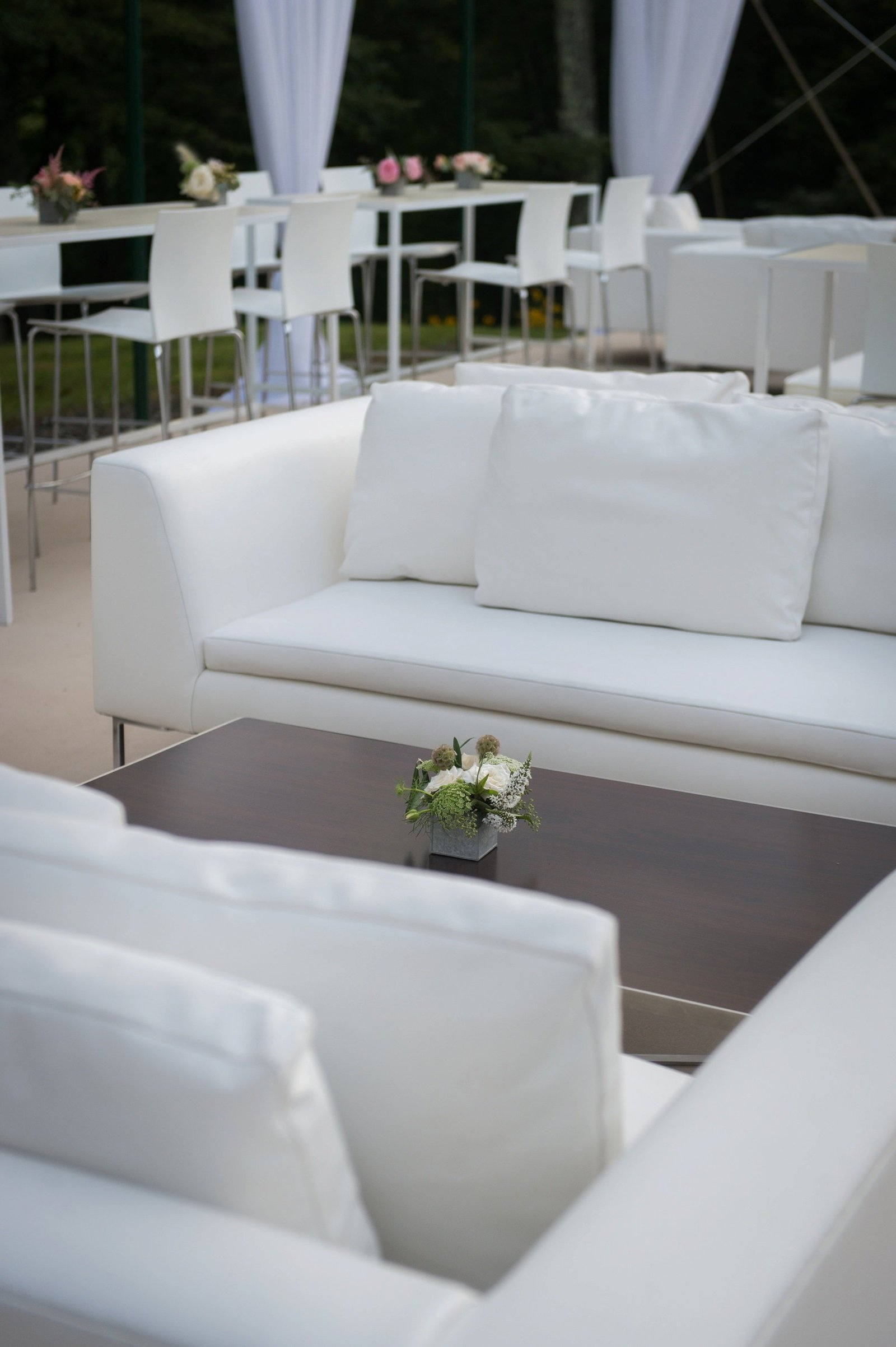 Modern lounge setting for home wedding in Washington, CT