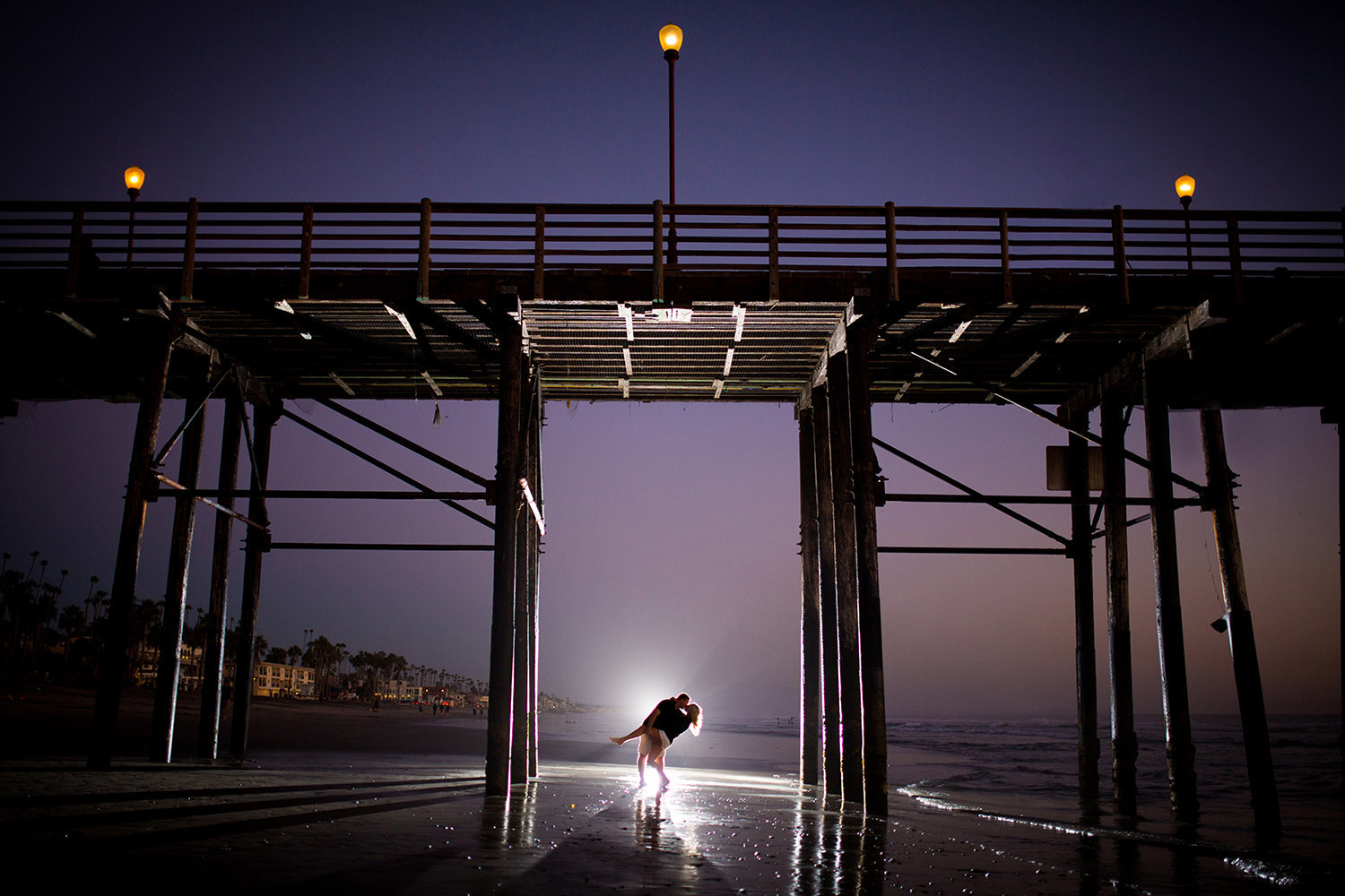 Scripps Pier engagement photos night shoot
