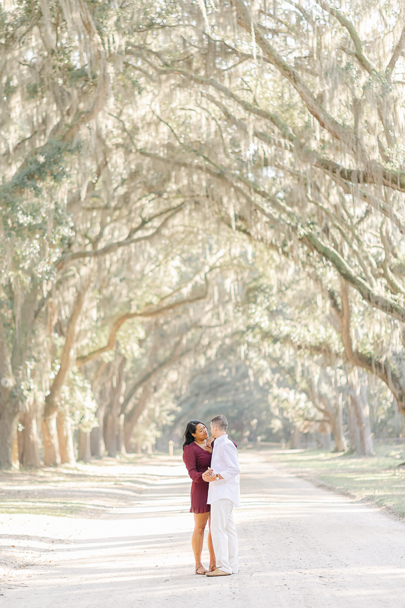 Light and Airy Engagement Session at Wormsloe Plantation in Savannah GA.
