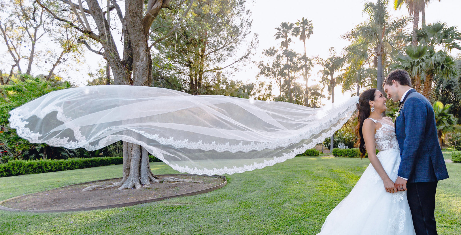 bride and groom kissing with wedding veil blowing in the wind at the newhall mansion