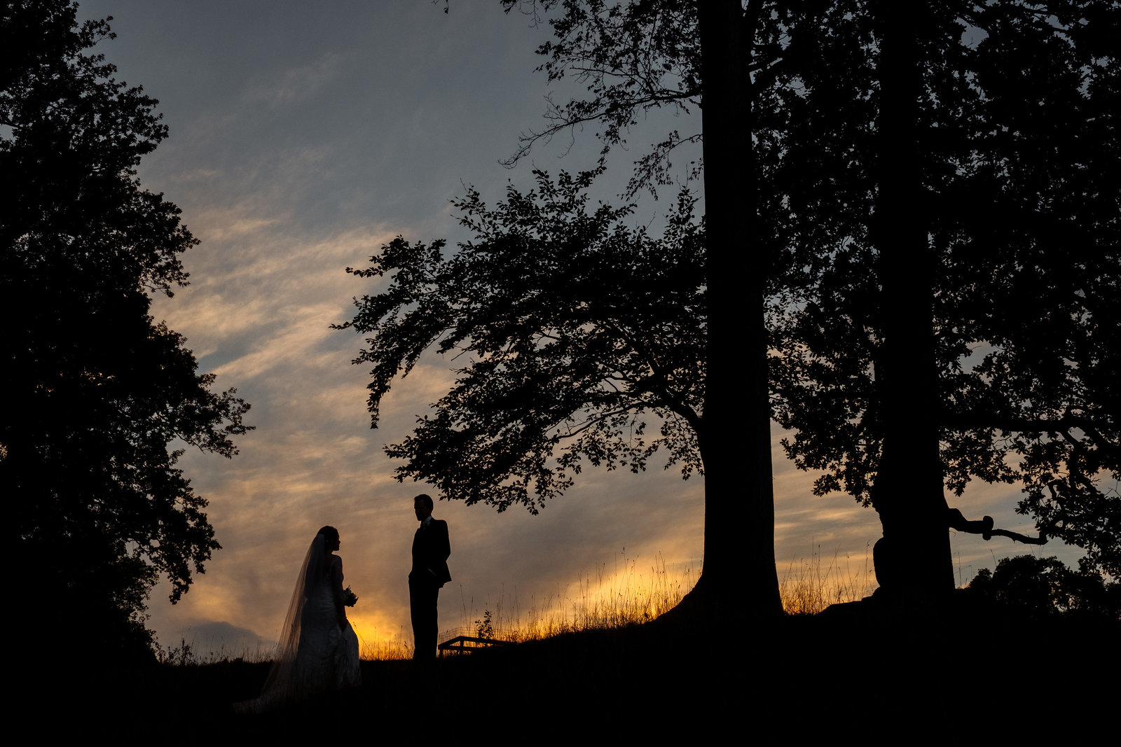 Bride and groom at Ripley Castle at sunset. Yorkshire wedding photographer