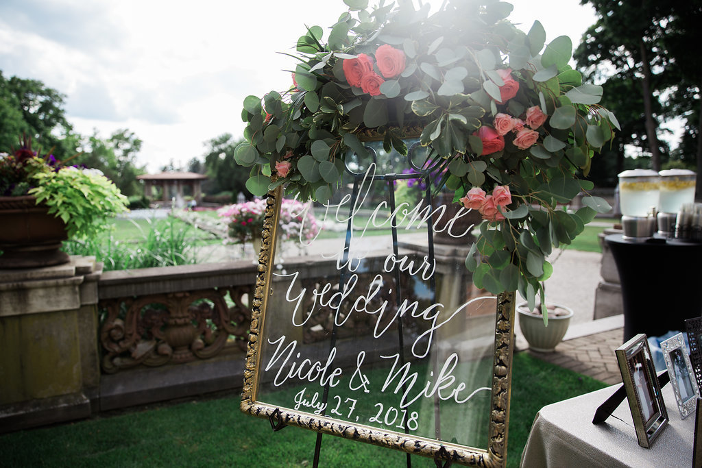 Welcome to our wedding sign at Armour House wedding