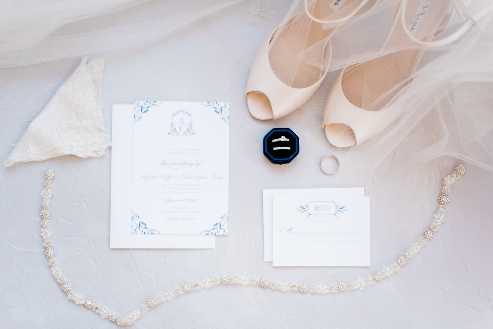 Blue, Grey and White wedding invitation suite