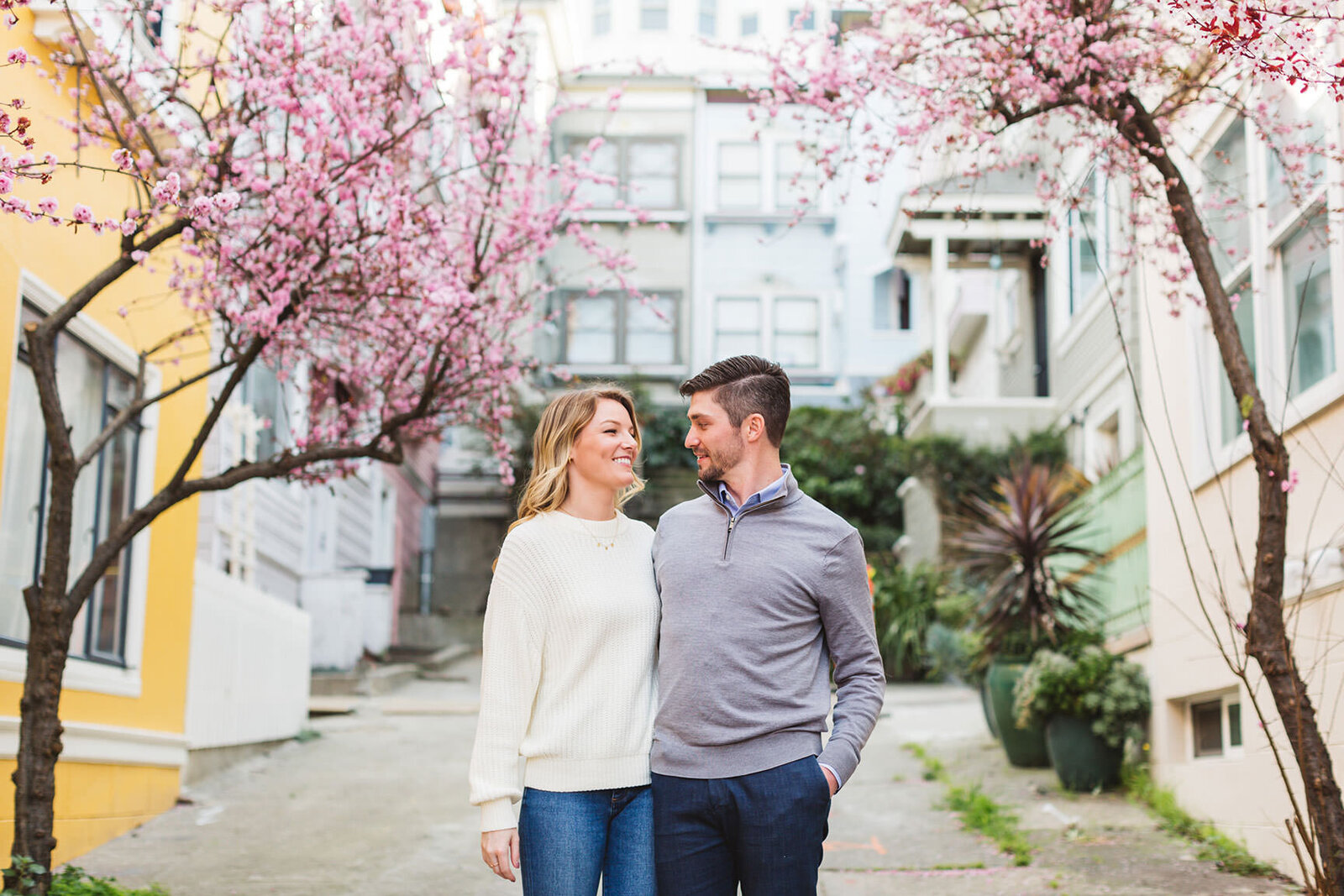 springtime engagement photography from Pacific Heights, San Francisco
