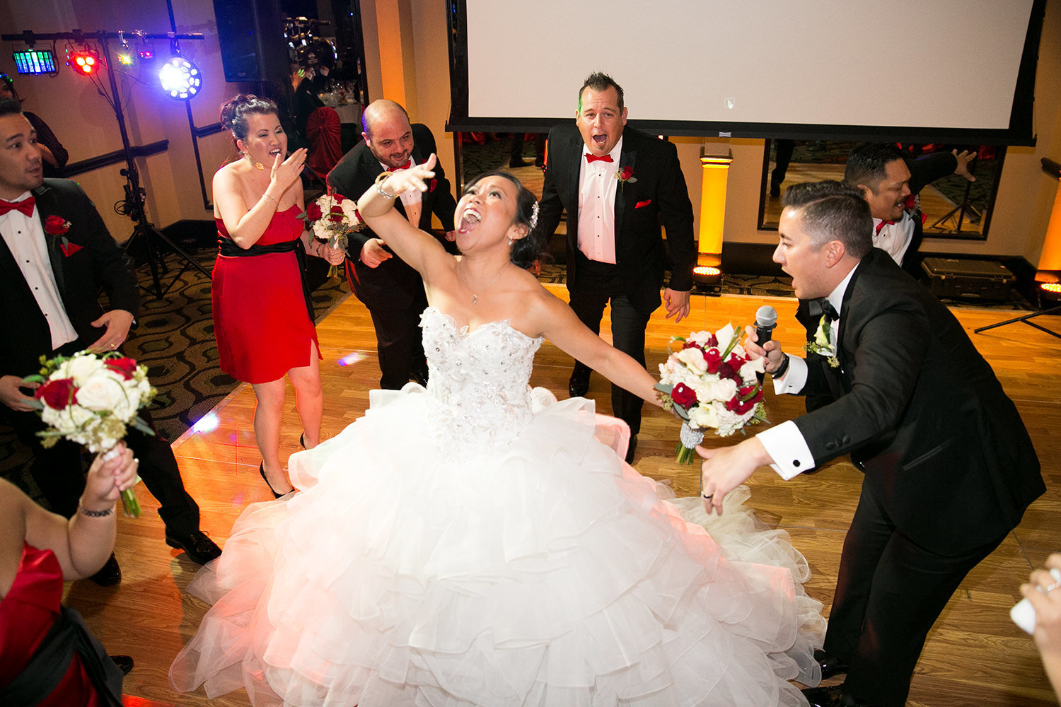 Hilarious moment during a choreographed flash mob wedding dance