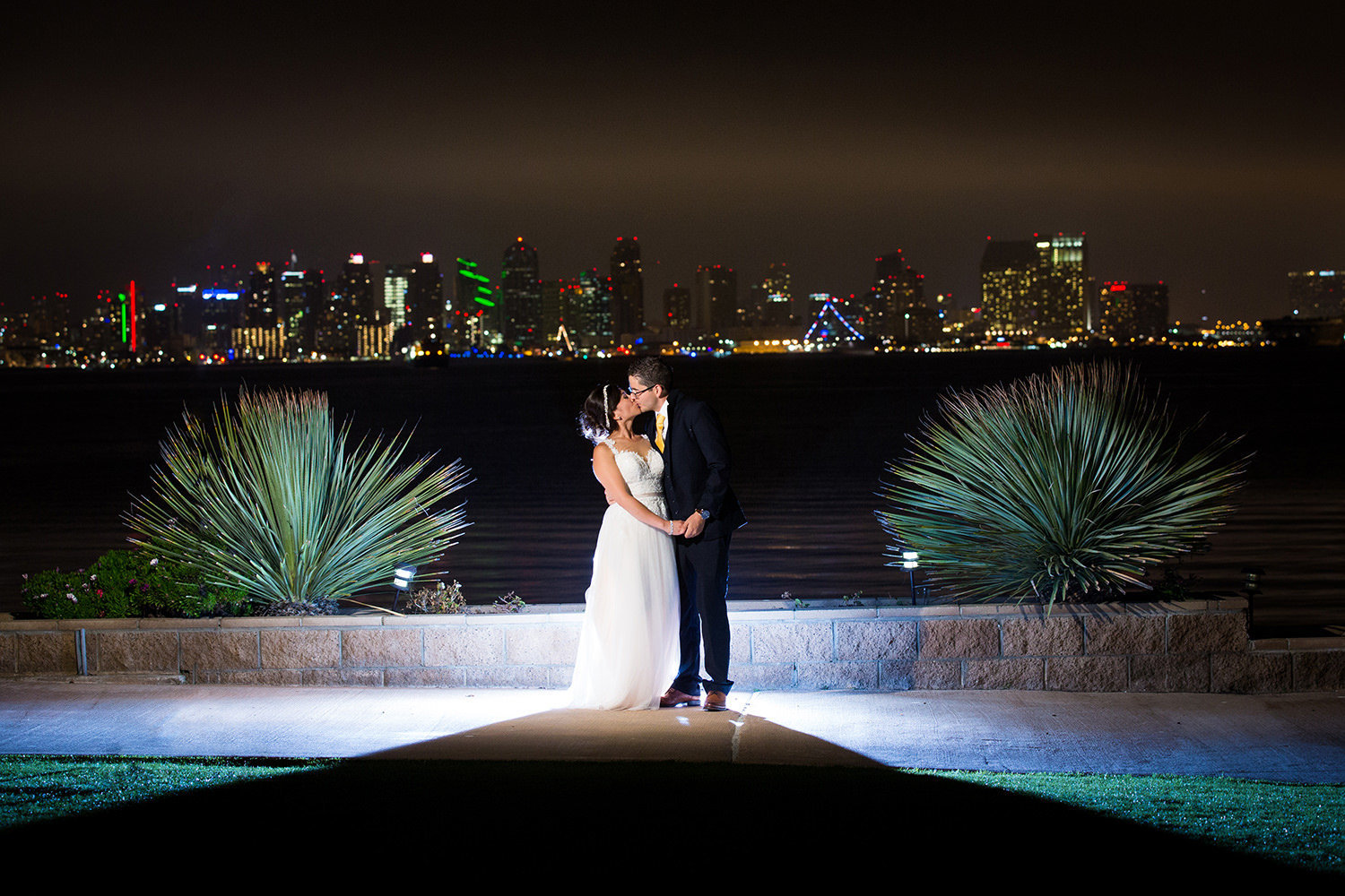 night image of bride and groom at admiral kidd club