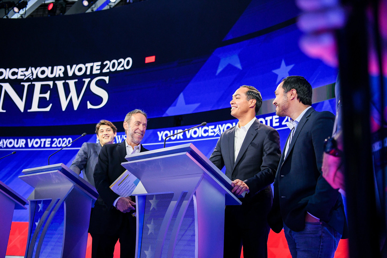 Julian Castro on the debate stage during the democratic presidential primary