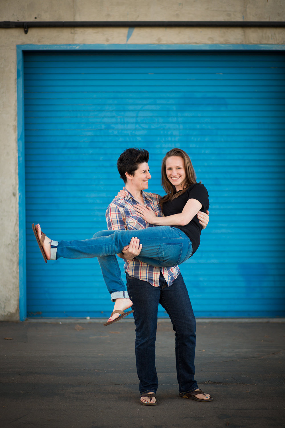 Casual engagement portrait in Coronado