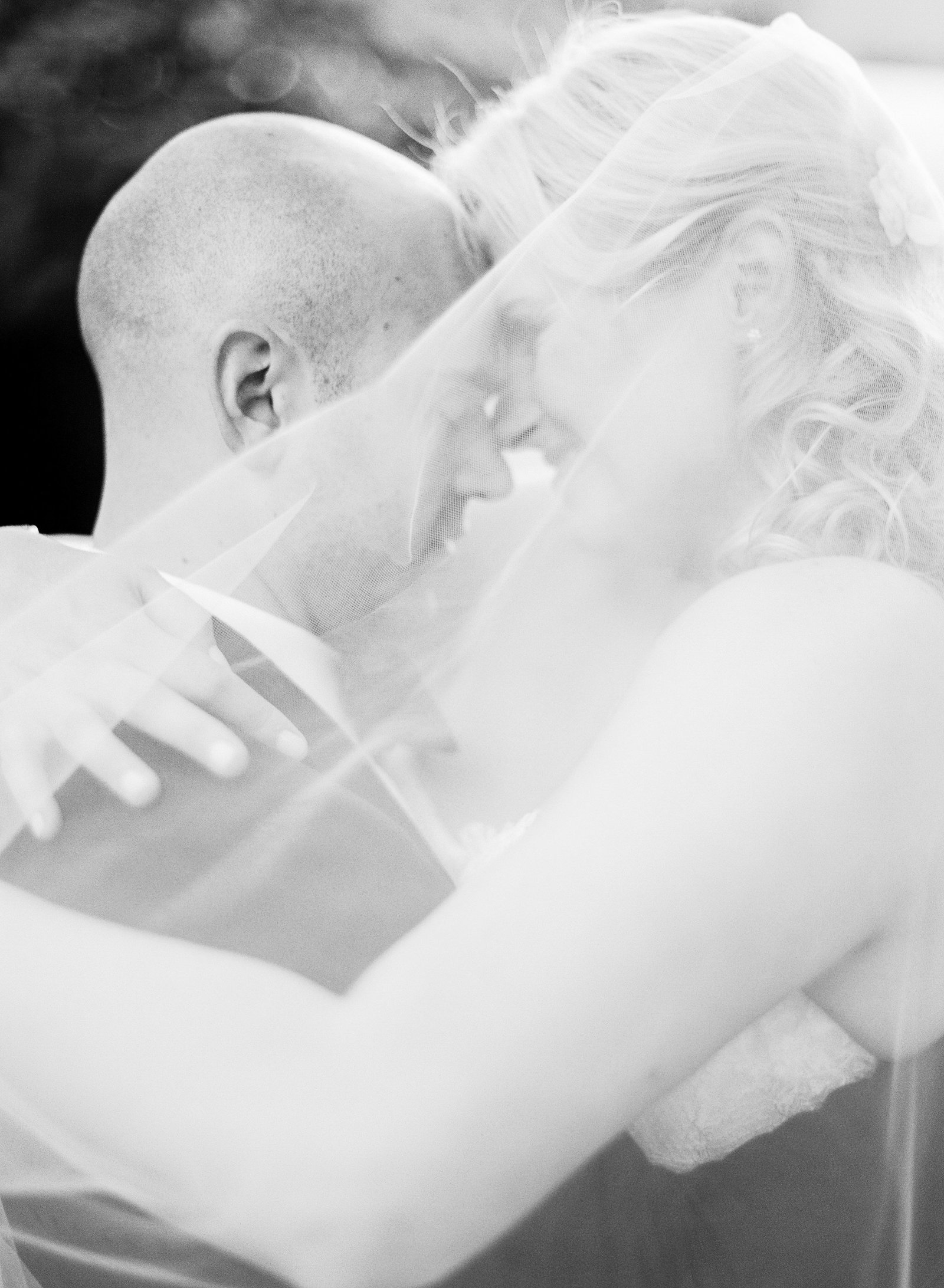 bride and groom just married in black and white in dallas texas
