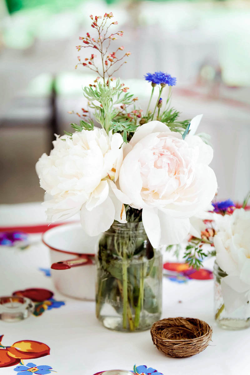 Peonies and mason jars make up the reception centerpieces, Rockford Plantation, Lancaster, Pennsylvania