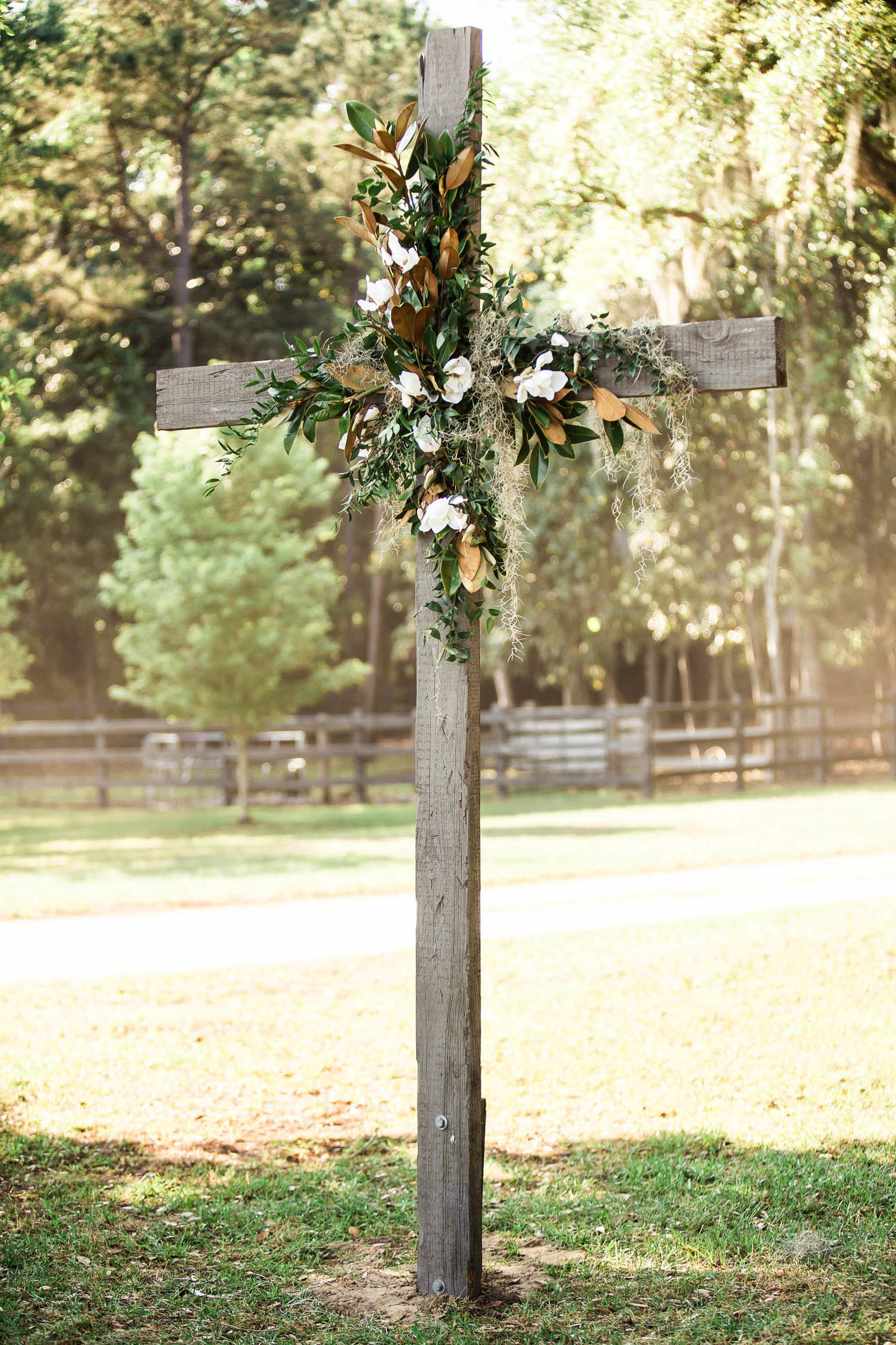 Cross is decorated with magnolias, Oakland Plantation, Mt Pleasant, South Carolina