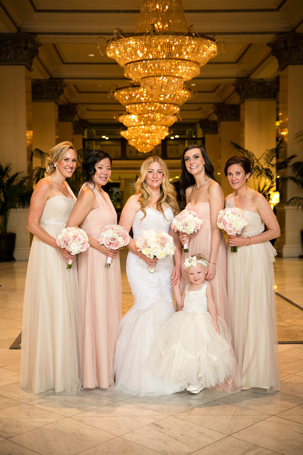 bridesmaids in lobby at us grant hotel