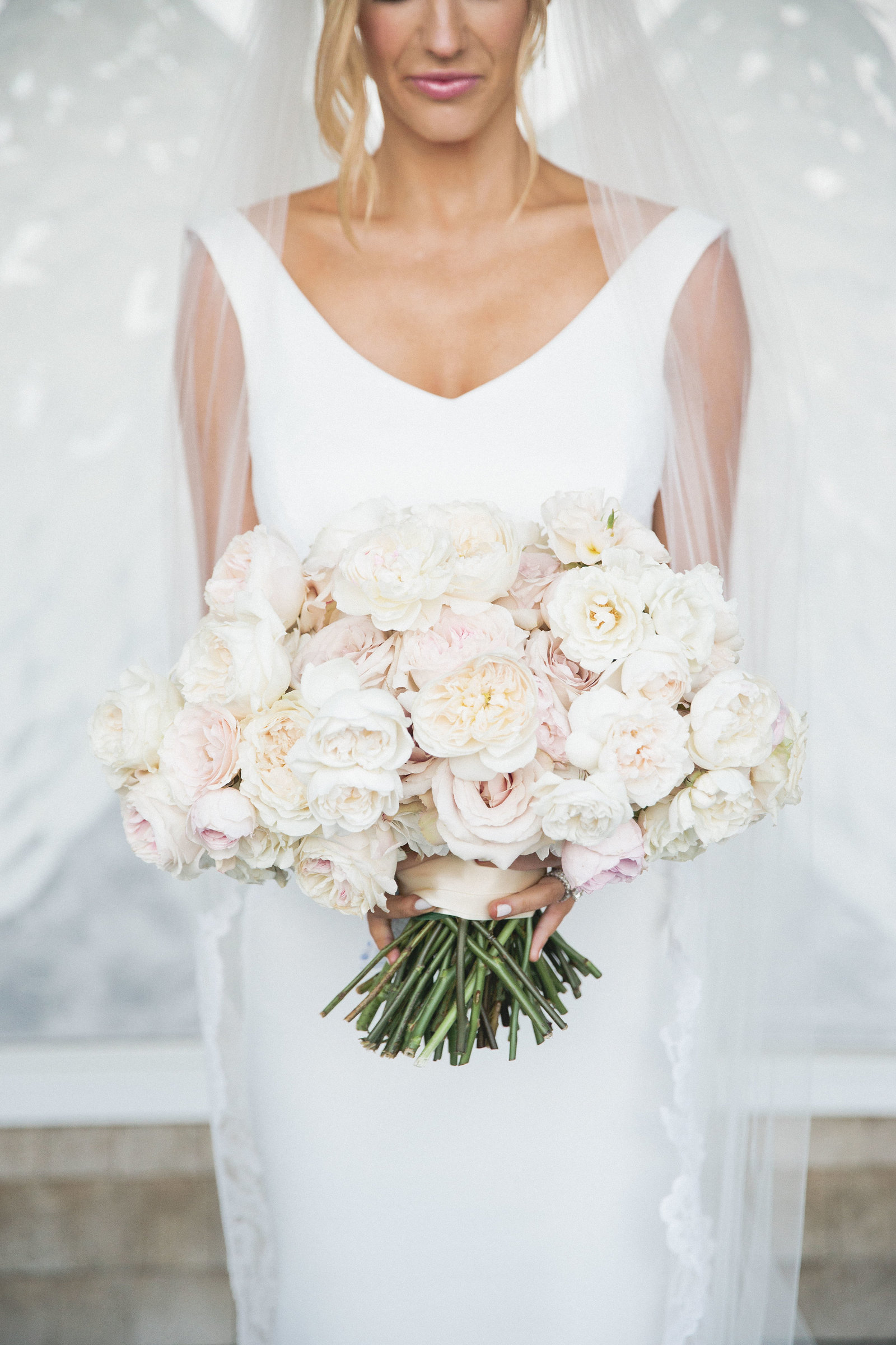 Garden Rose bouquet from The Bachelor's Whitney Bischoff's wedding planned by Best of Boston wedding event planner Always Yours Events