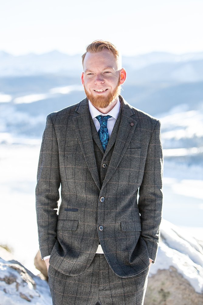 Colorado winter weddings - groom portrait at Sapphire Point