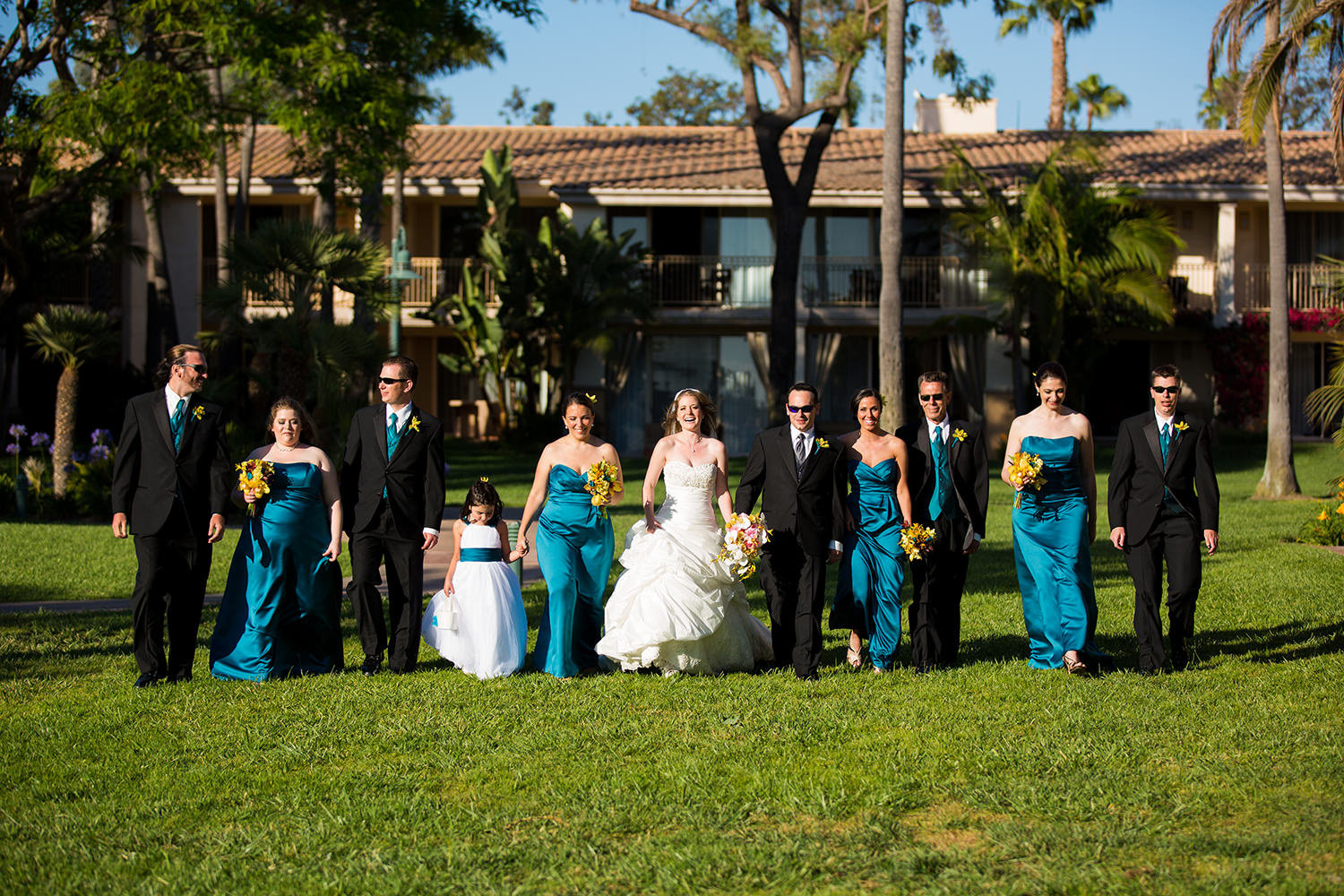 full bridal party shot at hilton mission bay
