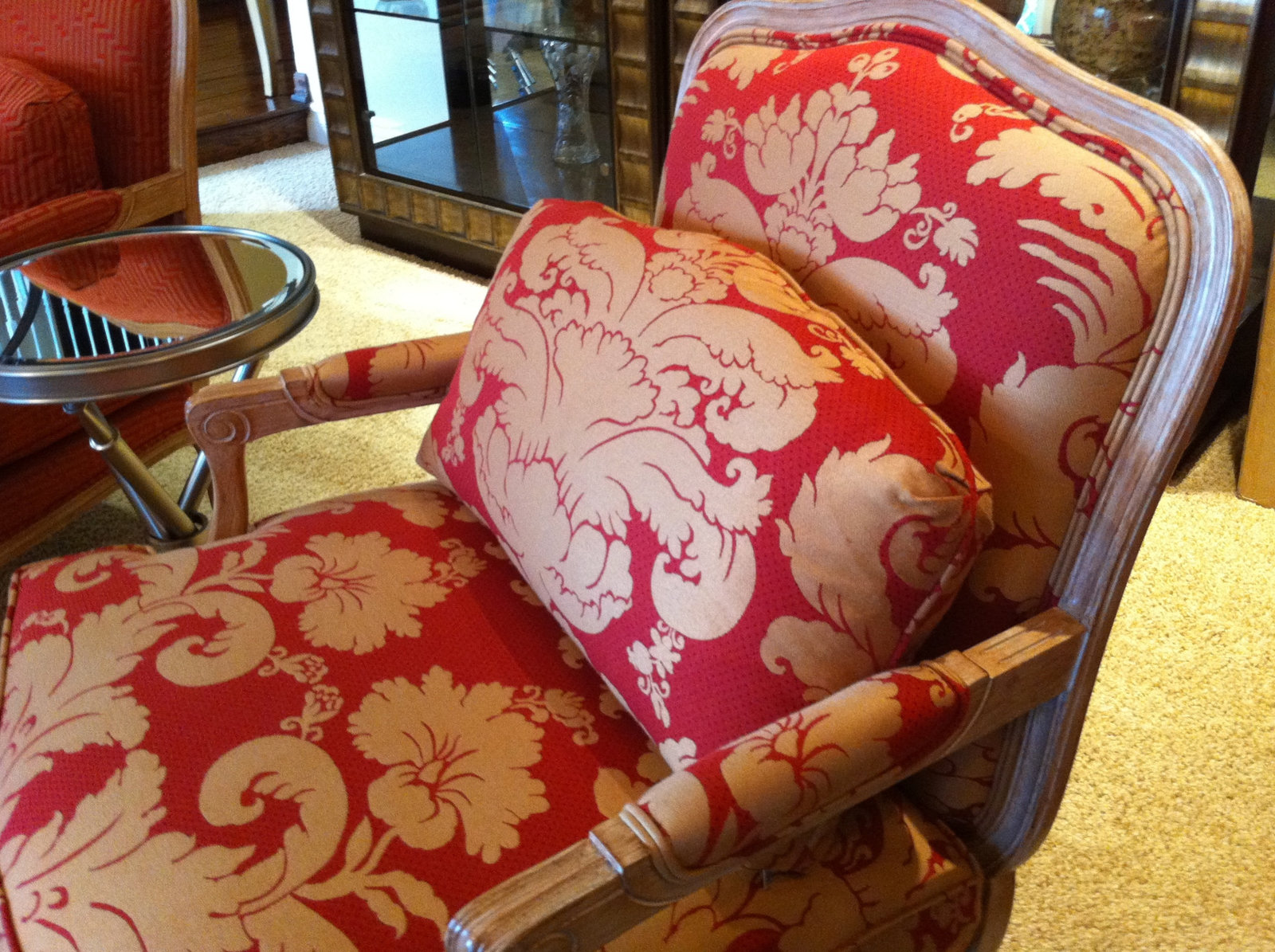 Country French Red and Gold Armchair