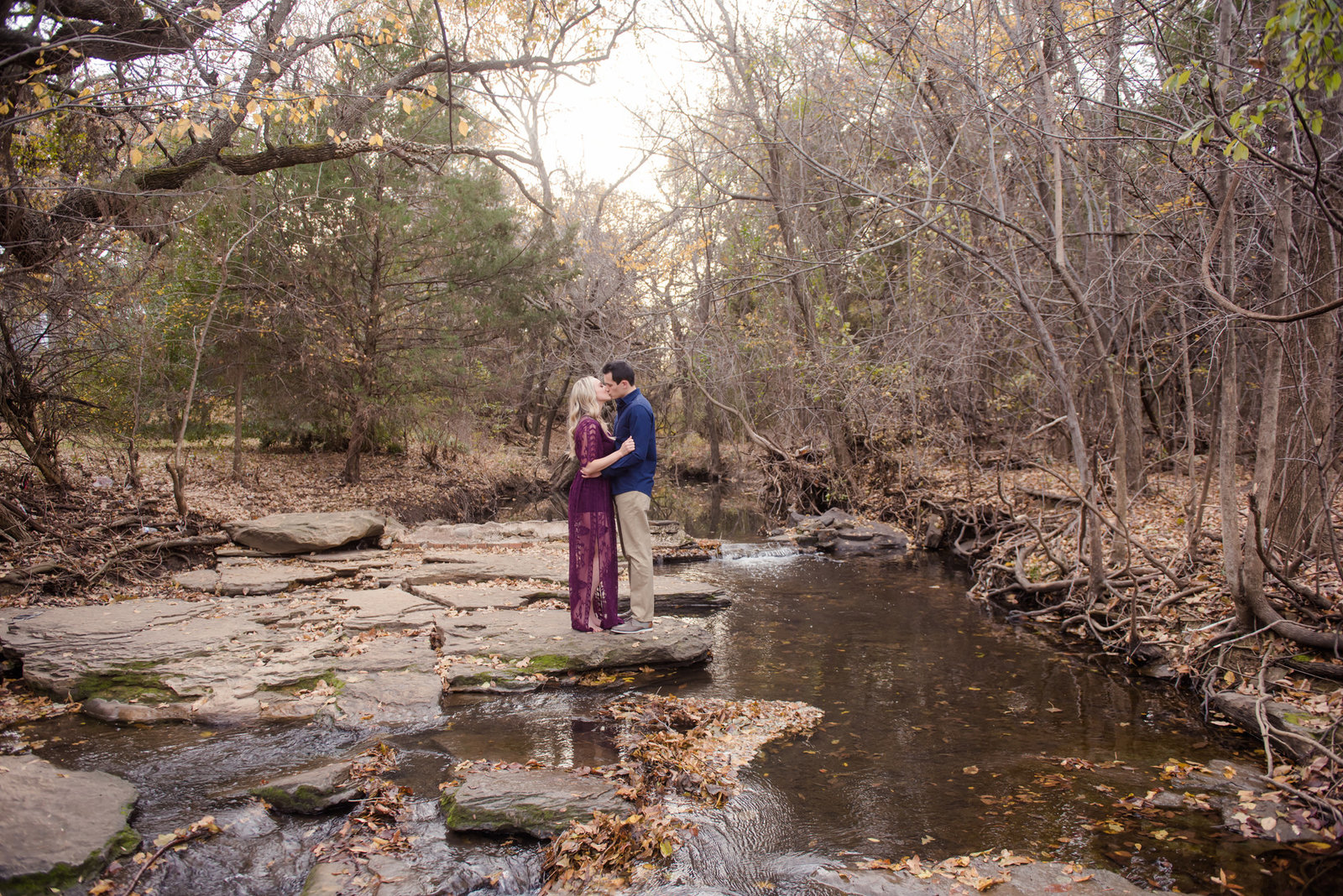 Flower Mound Creek engagement photo