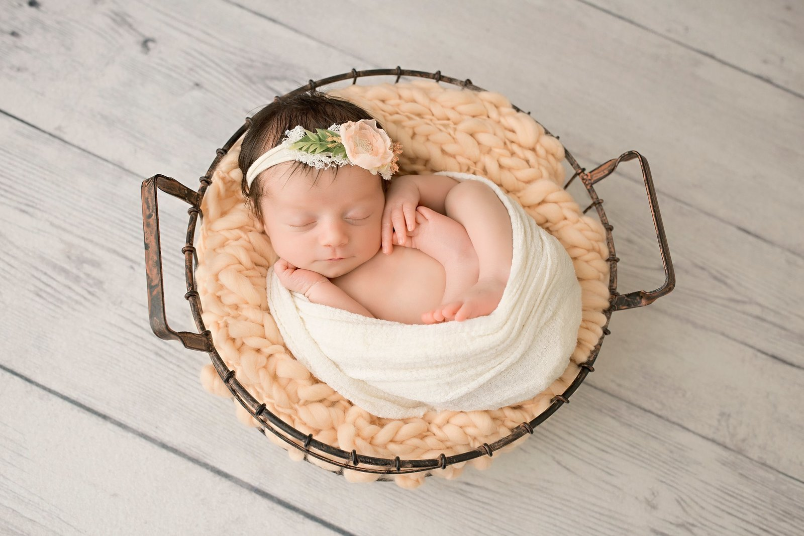 Newborn baby girl in wire basket