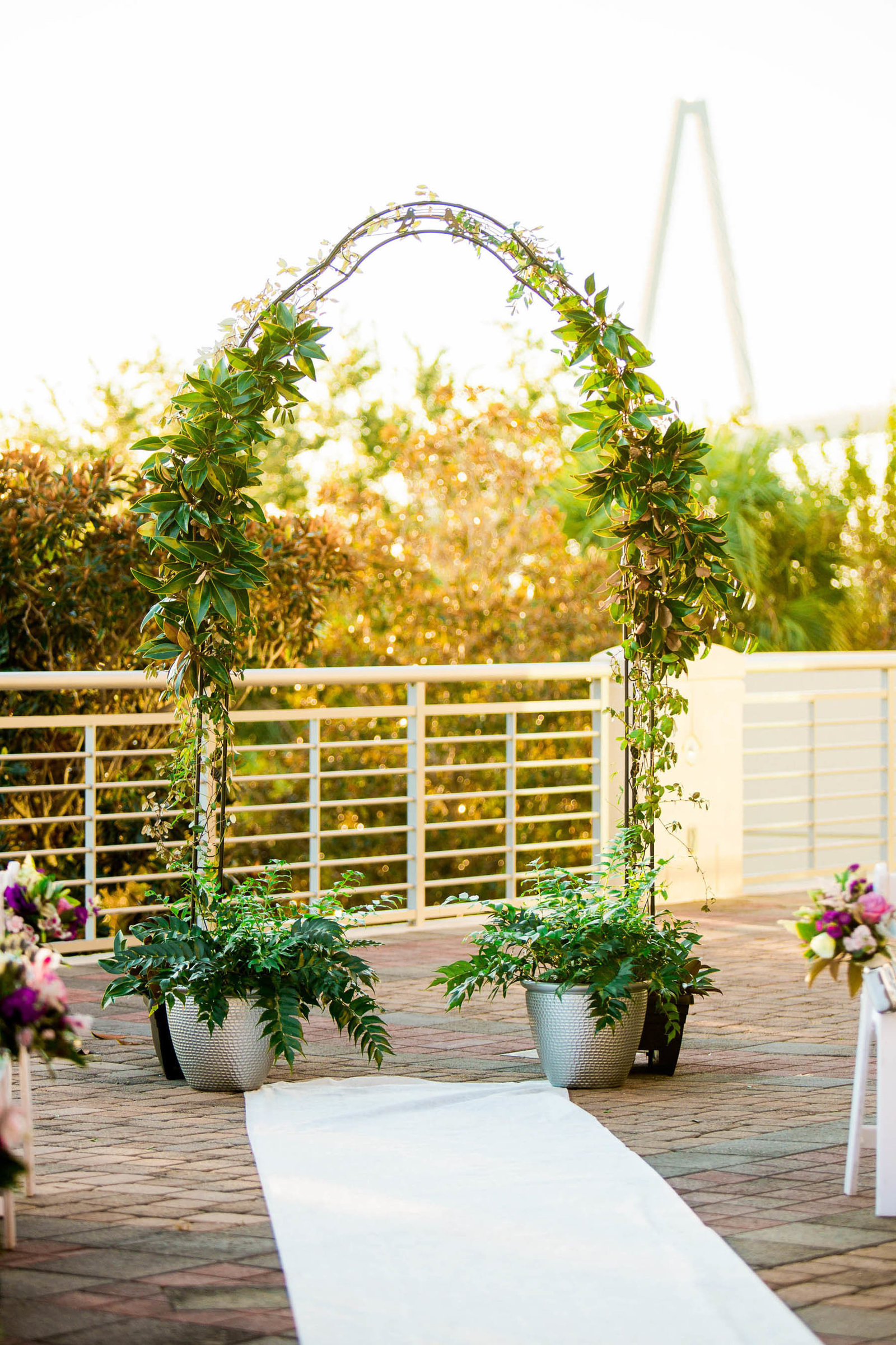 Ivy covered arch are at center of the aisle, Harborside East, Mt Pleasant, South Carolina