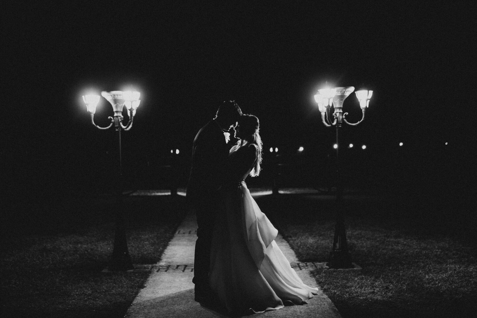 J.Michelle Photography photographs bride and groom for nighttime portraits at vintage oaks farm wedding in Athens, Ga