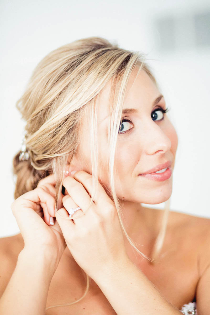 Bride gets jewelry on, Greenville Country Club, Delaware. Kate Timbers Photography.