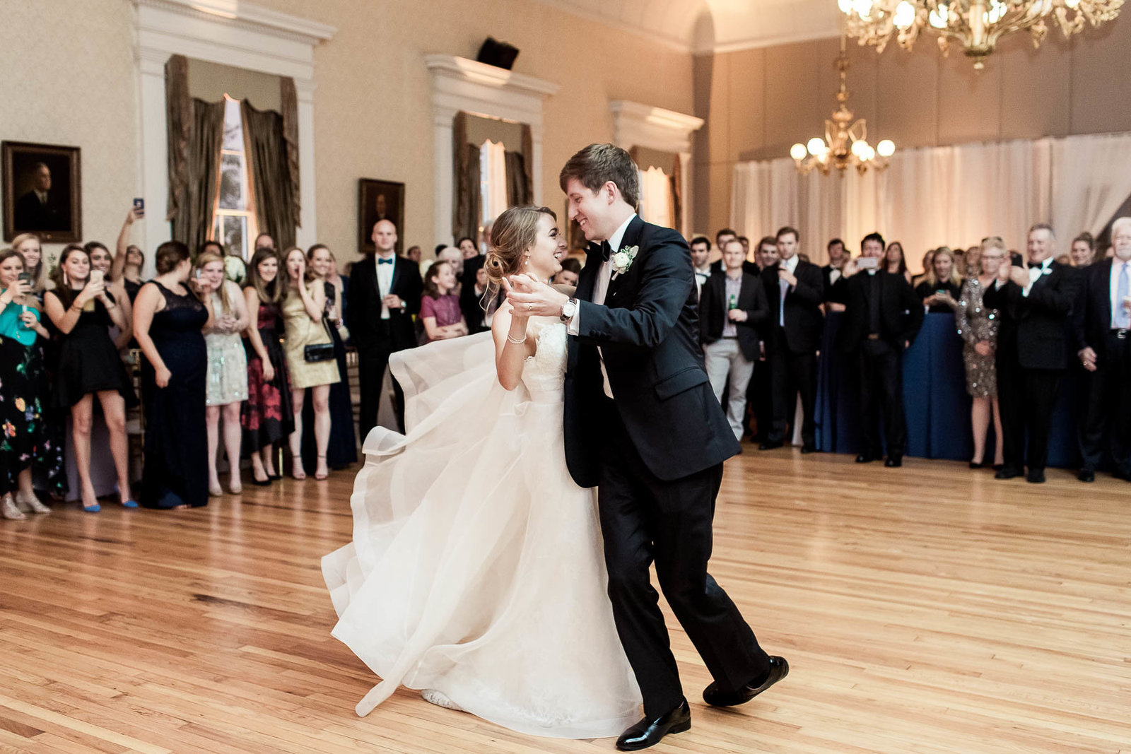 Bride and groom have first dance, Hibernian Hall, Charleston, South Carolina