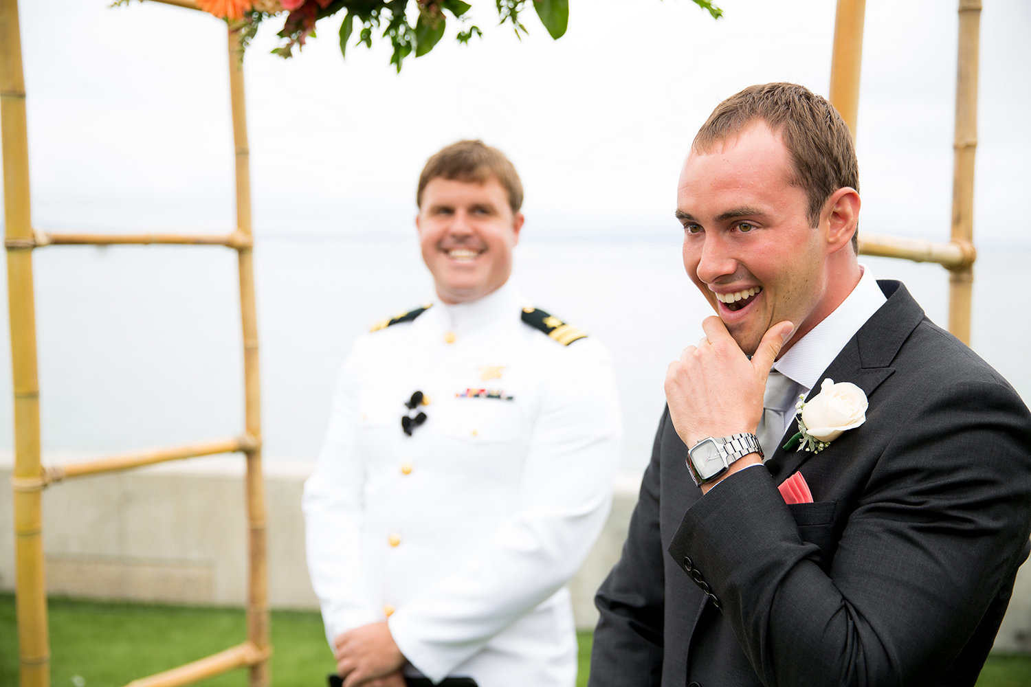 Point Loma Sub Base wedding photos groom seeing bride first time at ceremony