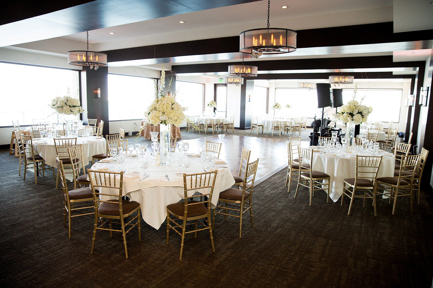 reception space with white flowers