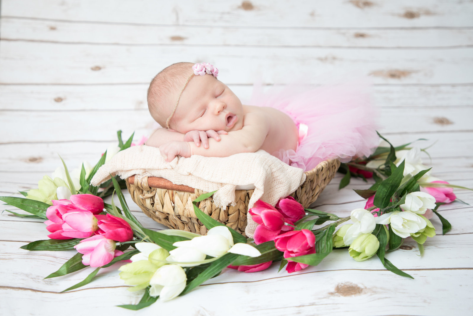 Newborn Baby Girl in a basket surrounded by pink flowers