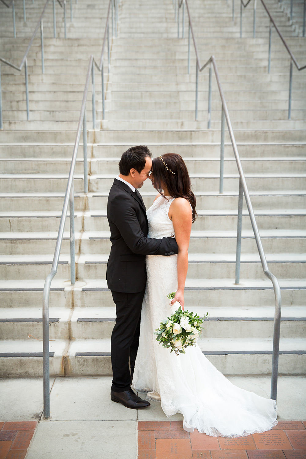 bride and groom in the gaslamp for their luce loft wedding petco park