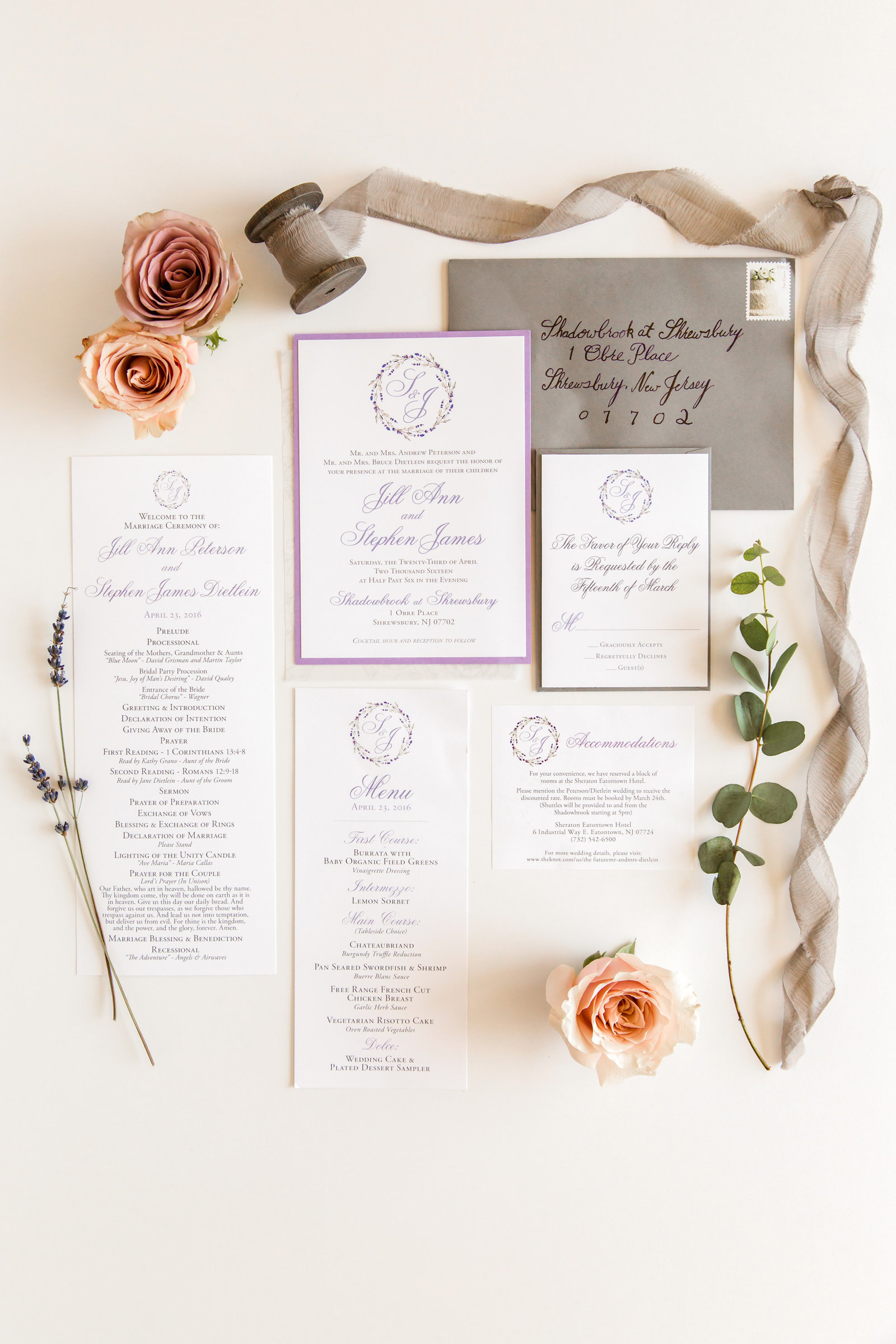 Invitation for a classic purple and gray wedding
