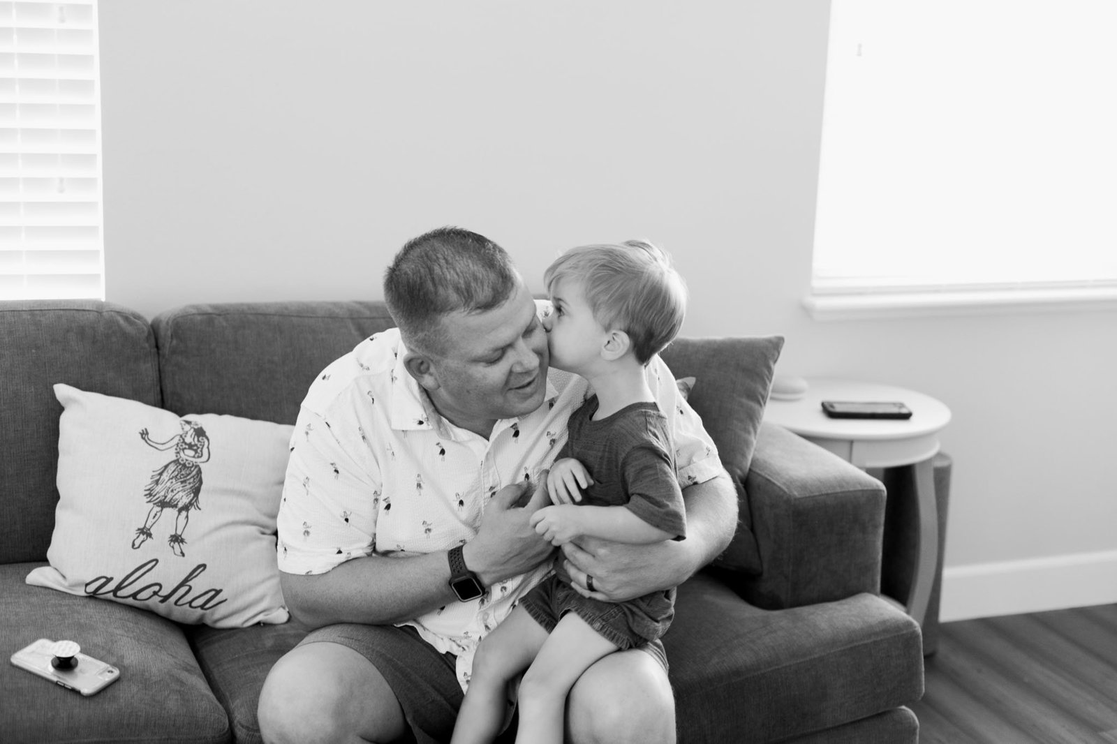 Oahu, Hawaii Lifestyle Photographer - Lifestyle Photography - Brooke Flanagan Photography - Father and Son in Black and White