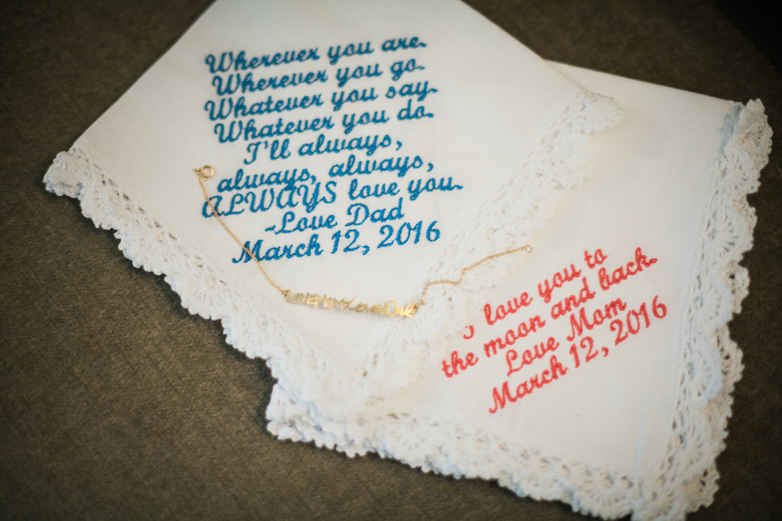 custom handkerchiefs from the mother and father of the bride