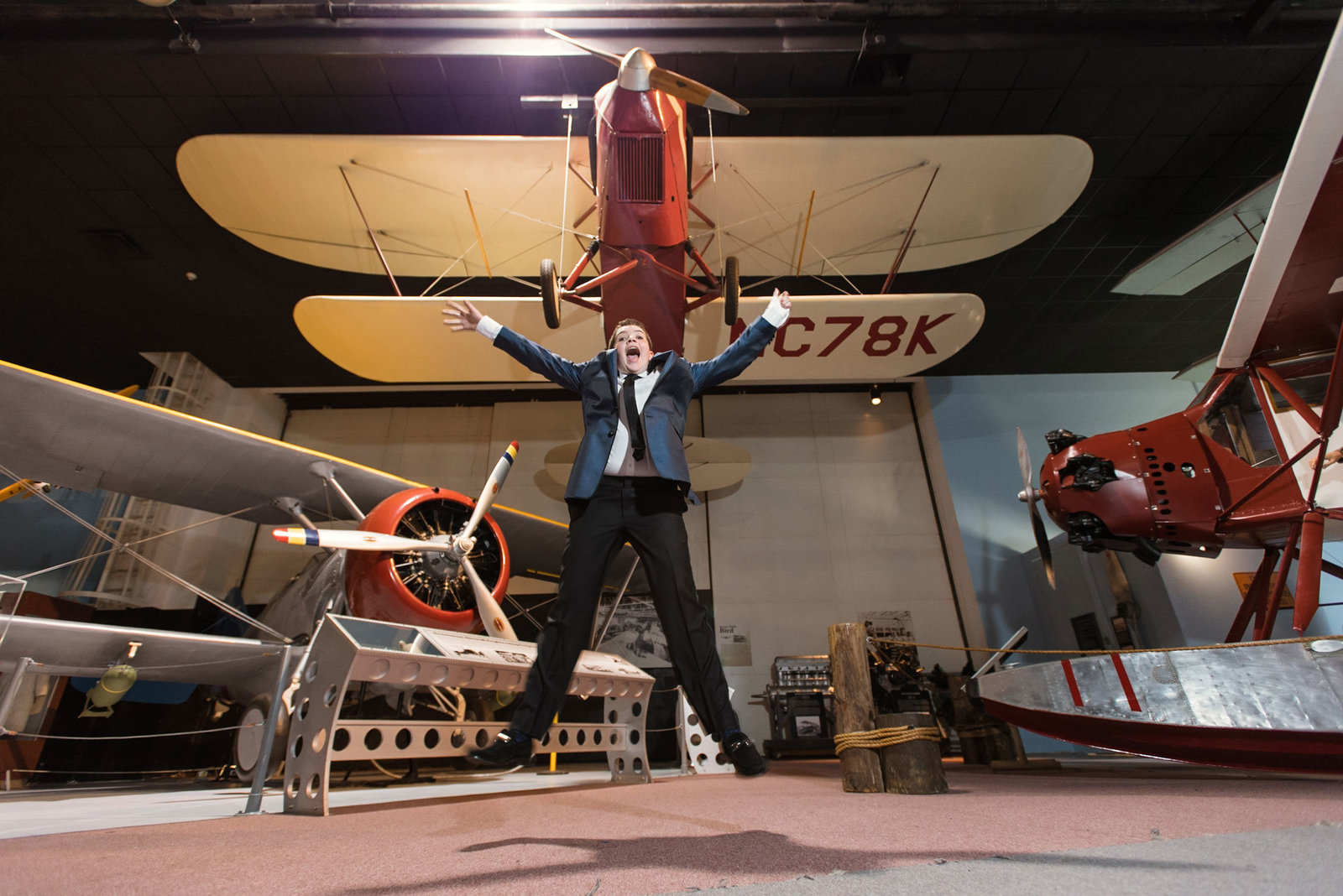 Bar mitzvah boy with planes at Cradle of Aviation