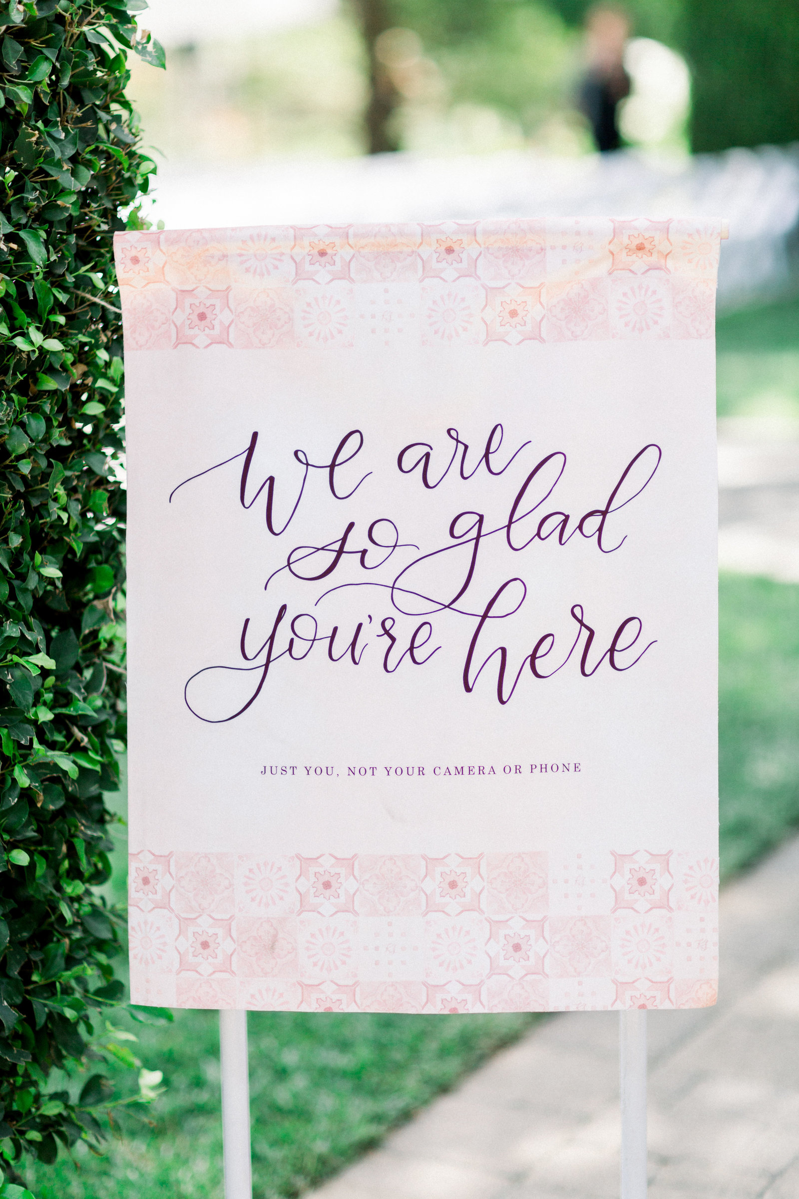 pink velvet unplugged wedding ceremony sign