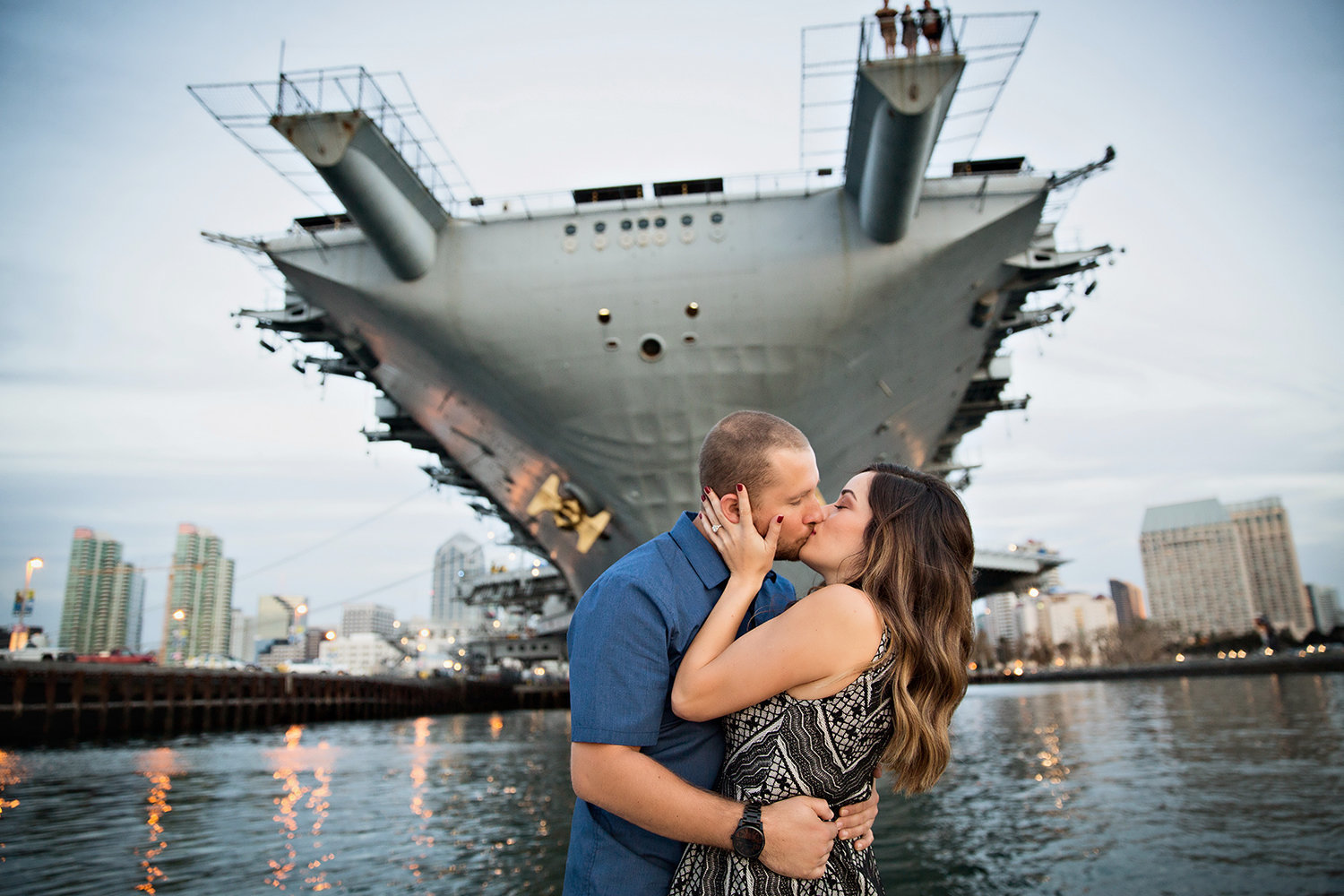 San Diego Bay engagement photos USS Midway