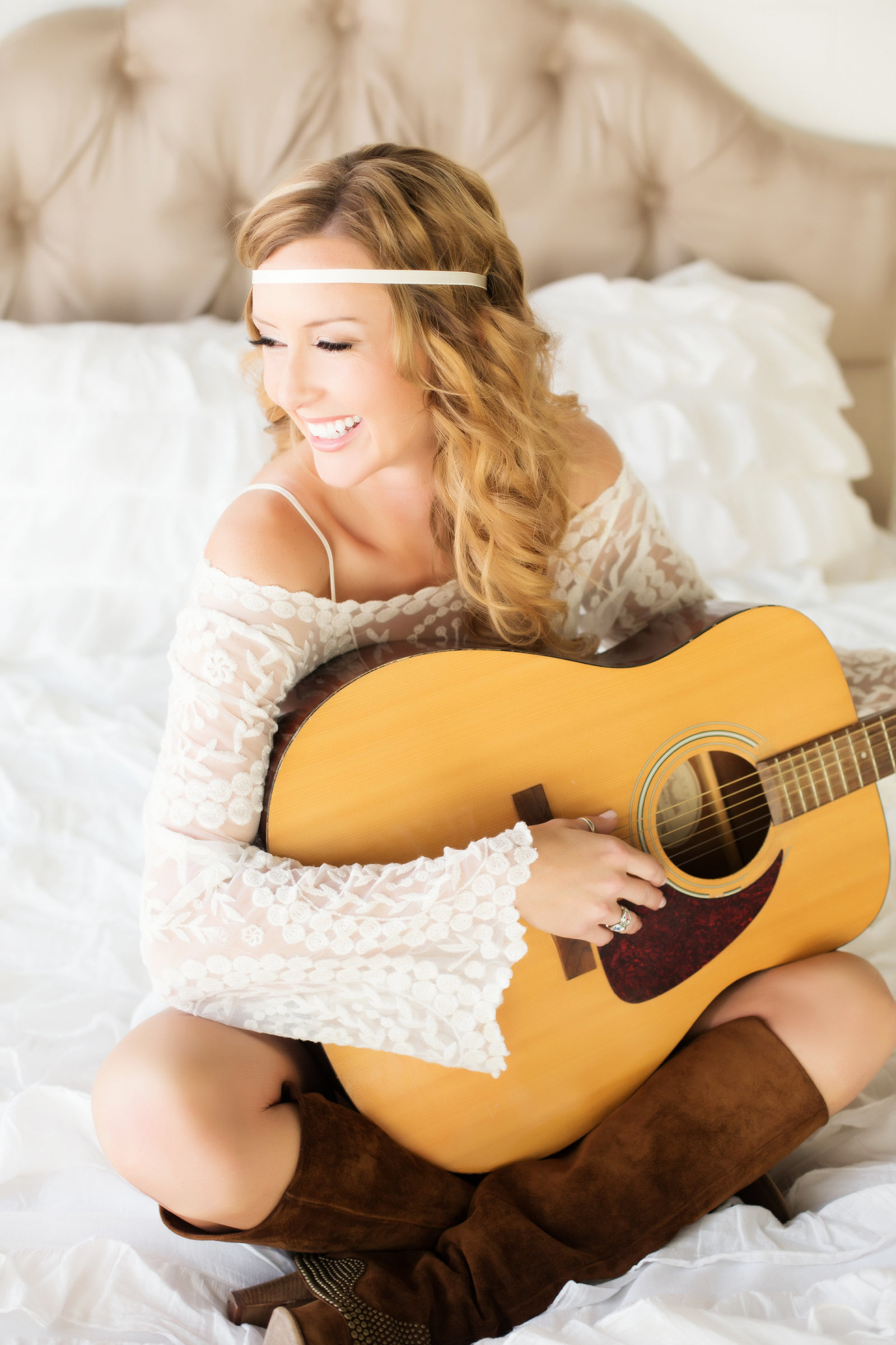 boho chic boudoir, guitar boudoir photography