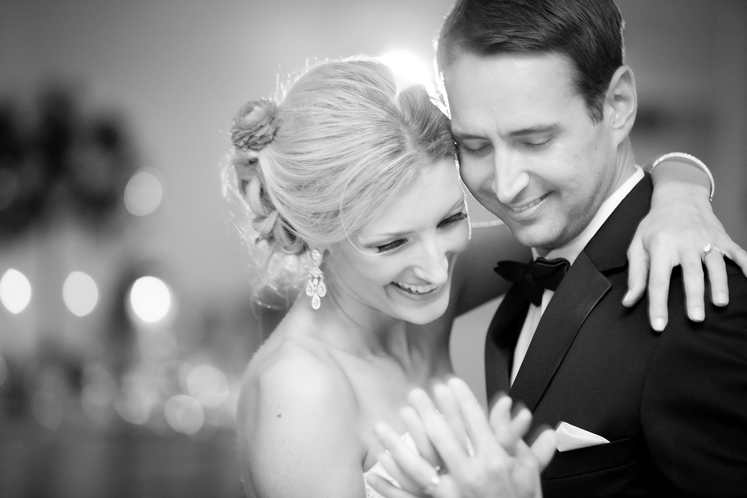 Sweet candid moment during a bride and grooms first dance