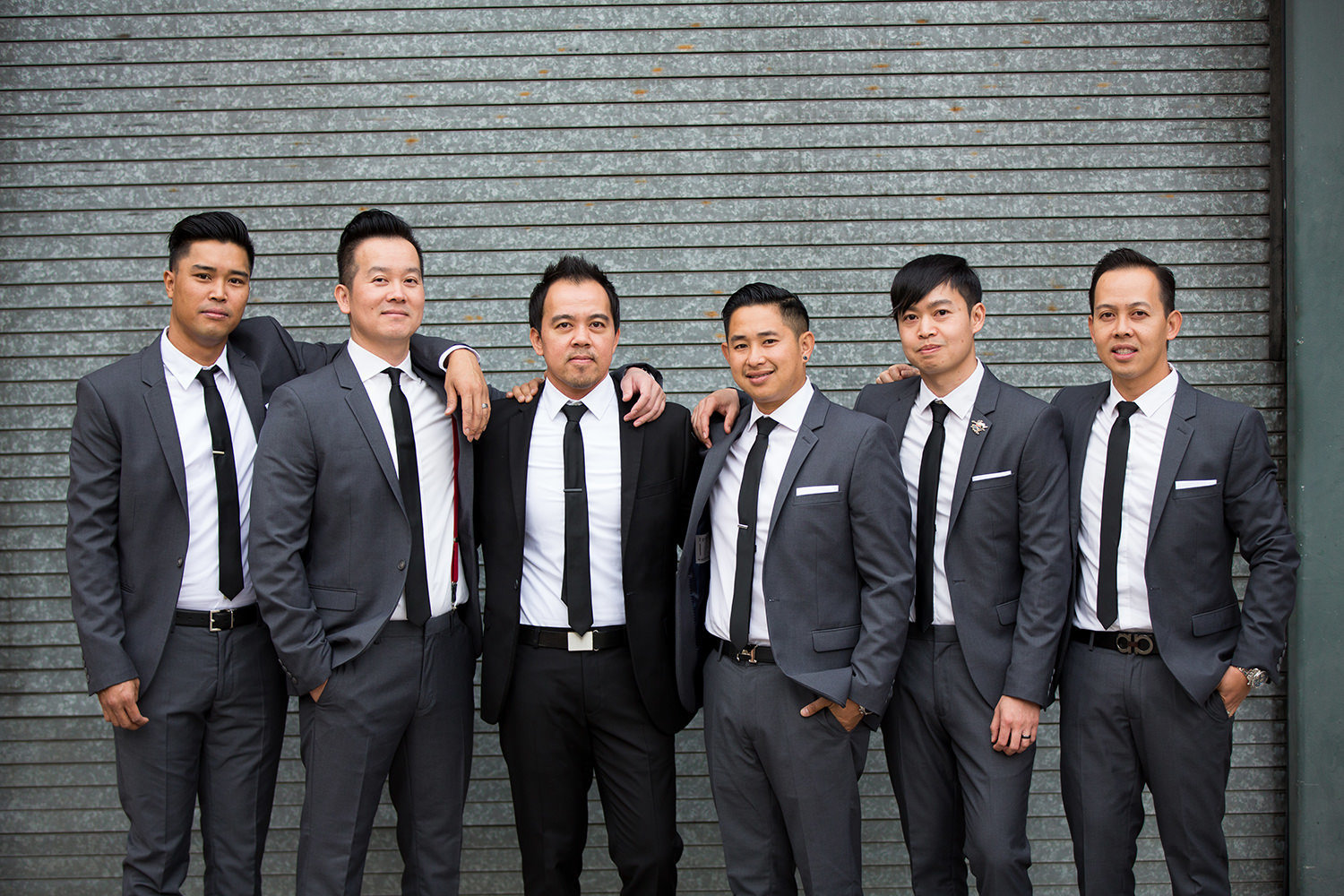 groom and his groomsmen downtown