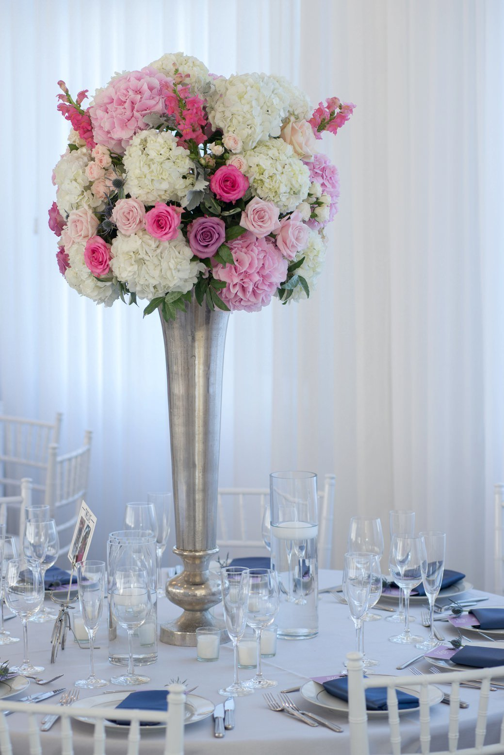 Modern tablescape in purple, blush and navy at Belle Mer in Newport, RI
