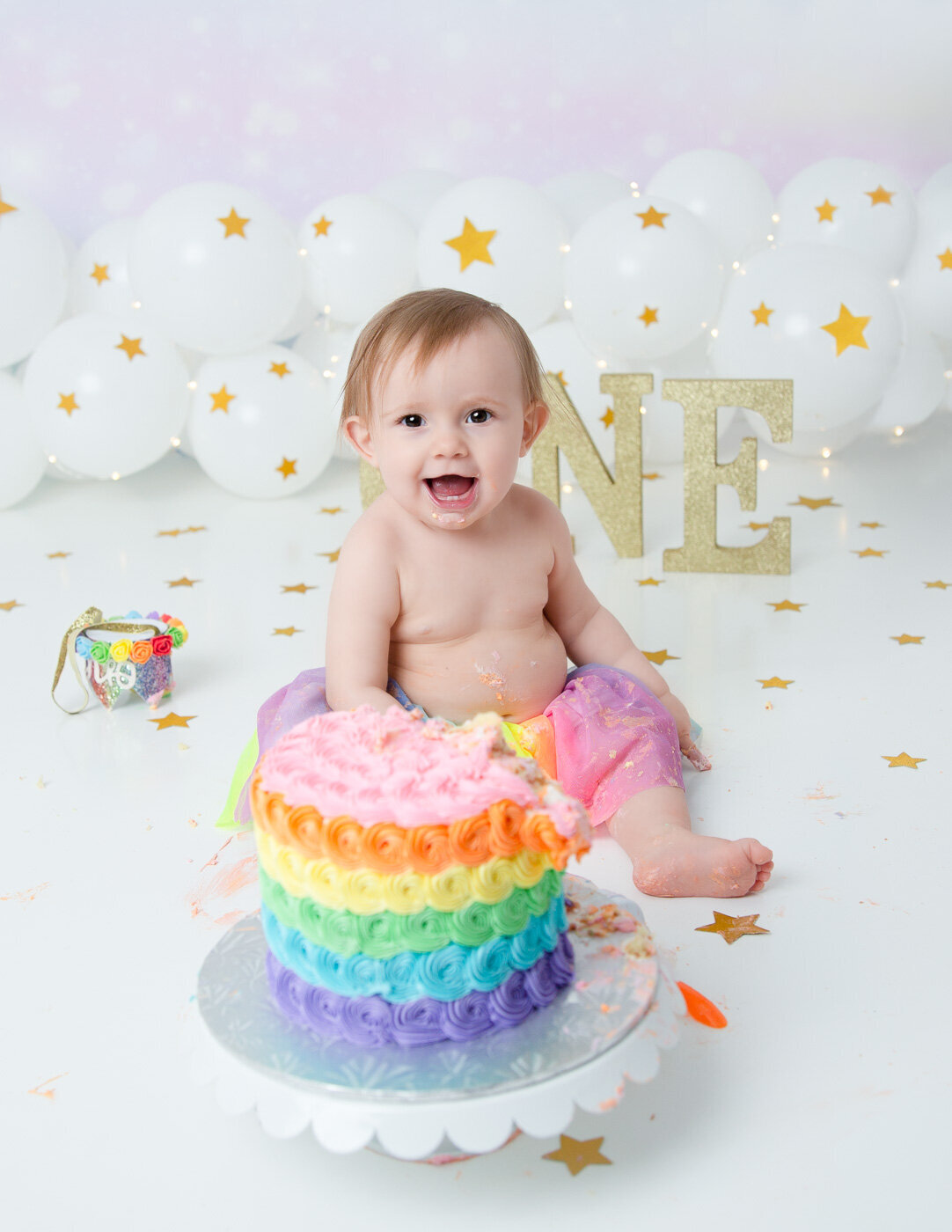 Sweet ONE year old at her cake smash session in Rochester, NY.