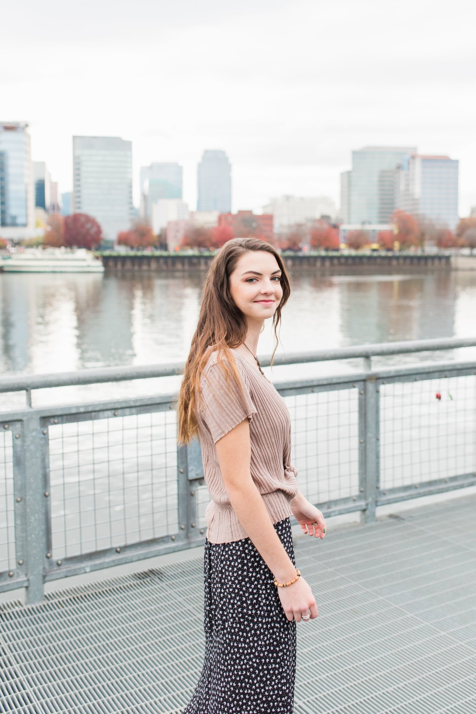 High school senior photos at Portland waterfront