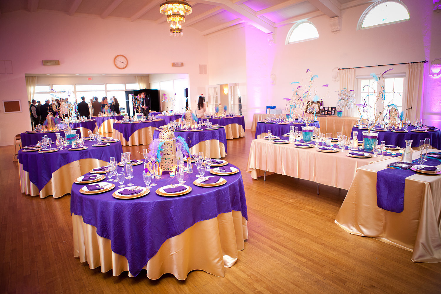 pink and purple uplighting at reception